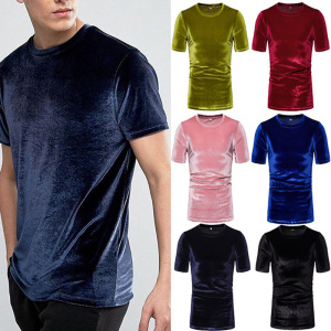Cross border European foreign trade summer men's Suede short sleeve T-shirt European and American style large men's round neck Pullover bottoming shirt