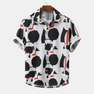 Real shot 2020 new summer hot selling European and American men's fashion print lining fir holiday style short sleeve loose shirt