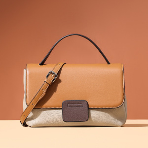 Bag women 2020 new fashion fashion versatile head leather hand held one shoulder crossbar casual contrast leather women's bag