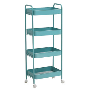 4-tier Rolling Metal Storage Organizer - Mobile Utility Cart with Caster Wheels