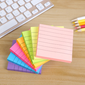 10 Pads/Pack Lined Sticky Notes 3 Inch X 3 Inch 80 Sheets/Pad Easy Post 8 Colors