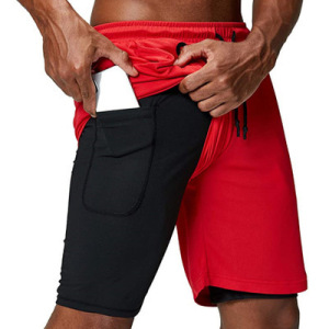 Men's 2 in 1 Running Shorts Quick Dry Gym Athletic Workout Shorts for Men with Phone Pockets