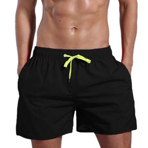 Men's Quick Dry Swim Trunks Solid Swimsuit Sports Shorts with Back Zipper Pockets