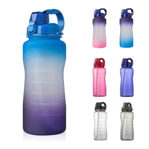 1 Gallon/128 oz Water Bottle with Time Marker, Carry Strap and Motivational Quote, Leak-Proof Tritan BPA-Free, Ensure You Drink Enough Water for Fitness, Gym, Camp, Outdoor Sports (Clear Blue)