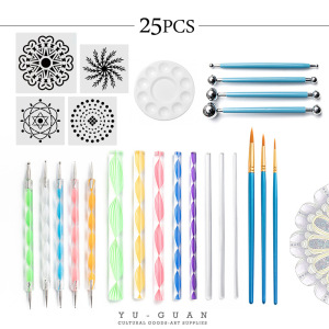 25Pcs Dotting Painting Tools with Mandala Set Pen Dotting with Mandala Stencil Kit Ball Stylus Clay Sculpting Carving Tools for Clay Pottery Craft,Painting Rocks,Coloring,Art Drawing