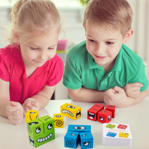 Face-Changing Wooden Toy Rubik's Cube Building Blocks for Children's Logical Thinking Intellectual Training Challenge Level Card Toys Parent-Child Table Game
