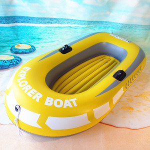 1-Person Inflatable Boat, PVC Inflatable Kayak Canoe 1 Person Rowing Air Boat Inflatable Raft Boat Fishing Drifting Diving Yellow