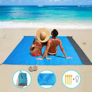 79''×83'' Beach Blanket Waterproof Sandproof for 3-7 Adults, Oversized Lightweight Beach Mat, Portable Picnic Blankets, Sand Proof Mat for Travel, Camping, Hiking, Packable w/Bag