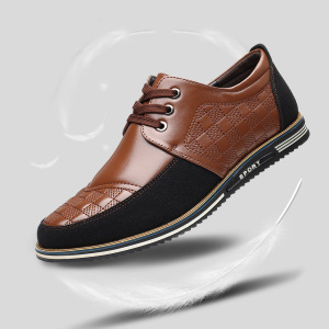 Autumn And Winter New Men's Business Casual Shoes Men's Flat Shoes Warm Leather Shoes
