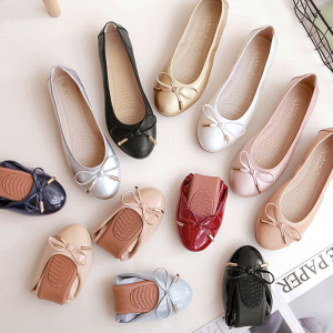 Bow Detail Pointy Toe Slip On Ballet Flats
