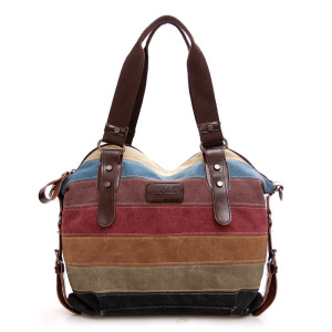 new canvas women tote bag shoulder worn joint handbag classic style lady tote bags OEM factory