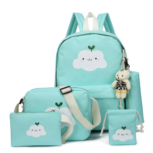 4pcs Women Oxford Backpack Set Rucksack Travel School Bags Students Teens Girl Bookbag For Lunch Tote Bag And Pencil Box