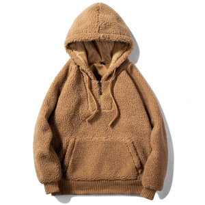 Amazon winter lamb wool sweater fashion solid color pullover hooded sweater big pocket men's new drawstring