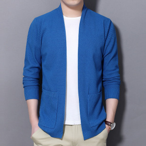 spring and autumn new men's business knitted cardigan men's solid color sweater coat spot wholesale