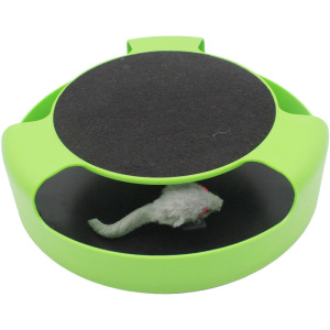 Cat Interactive Toys with a Running Mice and a Scratching Pad,Catch The Mouse,Cat Scratcher Catnip Toy,Green
