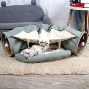 Collapsible Cat Tunnel Tubes Toys - Fun Run Crinkle Play Tunnels for Pets Kittens Rabbits