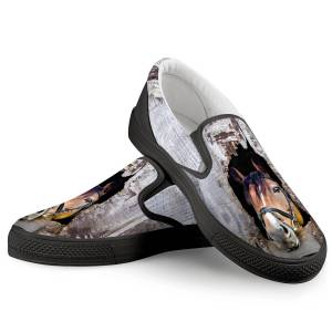 3D  Horse Black Canvas Shoes, Available For Customization