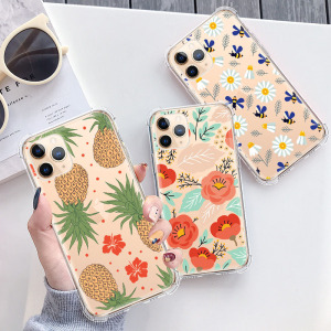 iPhone SE 2020 Case, iPhone 8 Case, iPhone 7 Case for Women, Floral Flower Sunflower Clear Design Back Case with TPU Bumper Protective Case Cover for iPhone 7 / iPhone 8 / iPhone SE 2020