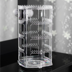 360 Rotating Earring Holder and Jewelry Organizer, 4 Tiers Jewelry Rack Display Classic Stand, 156 Holes and 160 Grooves for Necklaces Earrings Piercings, Clear