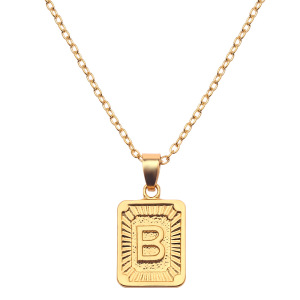 Initial Letter Pendant Necklace Mens Womens Capital Letter Yellow Gold Plated A Z Stainless Steel Box Chain 20inch