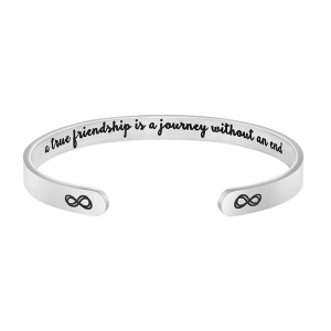 Inspirational Bracelets for Women Mom Personalized Gift for Her Engraved Mantra Cuff Bangle Crown Birthday Jewelry