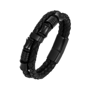 Mens Double-Row Black Braided Leather Bracelet Bangle Wristband with Black Stainless Steel