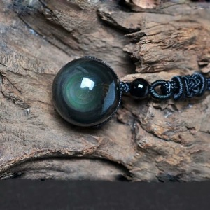 Natural Black Obsidian Rainbow Eyes Stone Necklace Pendant, 16mm Obsidian Bead with Woven Cotton Cord, Talisman Dedication of Wellness and Wealth
