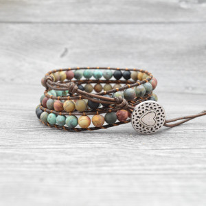 Handmade Bohemian Natural Stones Bracelet - Leather Bracelet with Chakra and Beads Wrapped for Women and Girls