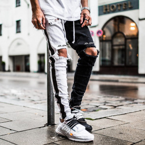 Street Style Men's Hip-hop Striped Stitching Skinny Casual Ripped Long Denim Pants Black Jeans
