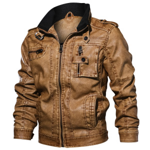 Autumn Winter Fashion Leather Motorcycle Windproof Men Leather PU Jacket Slim Fit Military Army Tacltical Zipper Leather Coats