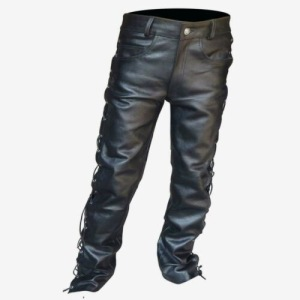 Men's black Thick Leather Side Laces up Jeans Style long Pant Motorcycle Leather Trousers