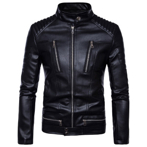 Men's Winter Fashion New Casual Leather Jacket, Warm Thick Zipper Coat