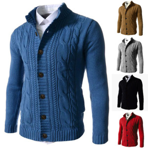 Mens Slim Fit Twist Knitted Button Cardigan Sweaters Plus Size
