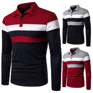 Autumn and Winter Fashion Casual Men's T-shirt Business Social Lapel Long-sleeved Three-color Stitching Polo Shirt.