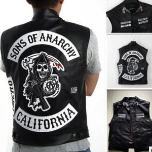 Sons of Anarchy Motorcycle Racing PU Leather Vest Locomotive Jacket