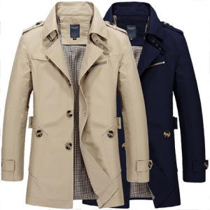 Men's Fashion Casual Jacket In The Long Trench Coat Cotton Wash Jacket