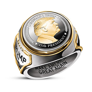 """Exquisite 925 Sterling Silver Mens Fashion Ring Two Tone 18k Gold """"Make America Great Again"""" USA President Trump Statue Commemorative Coin Rings"""