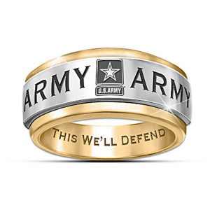 U.S. Army This We'll Defend - Silver & Gold Two Color Creative Punk Ring Boutique Men's Military Ring