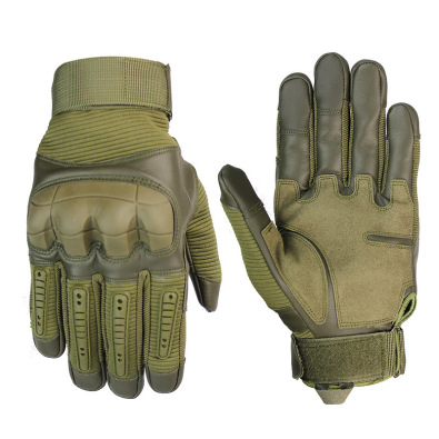 High Quality Touch Screen Military Tactical Rubber Hard Knuckle Full Finger Gloves_ArmyGreen_XL