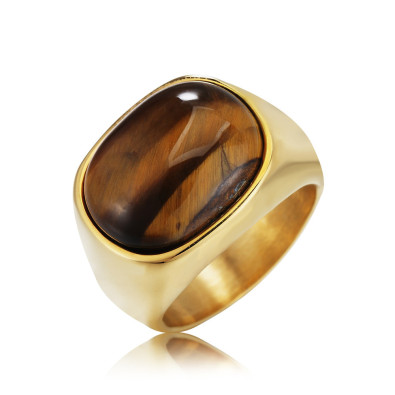 Stainless Steel Men Punk Cat Eye Opal Engagement Ring Jewelry