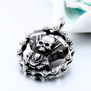 Stainless Steel Cool Heavy Bicycle Chain Skull Motorcycles Engine Pendant Jewelry