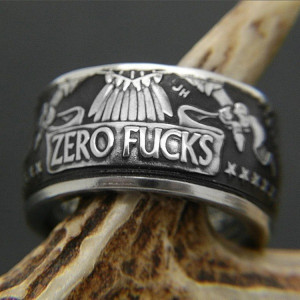 """90% Silver Handmade Zero Fxxks Coin Ring Vintage Morgan Silver Dollar Carved """"United State of No Fxxk"""" Rings"""