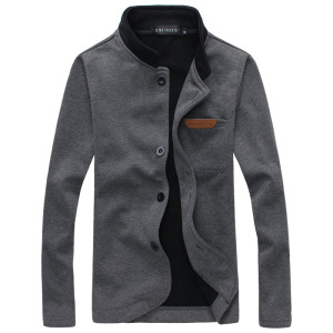 Europe and America Mens Fashion Slim Version of the Single Buckle Solid Long-sleeved Sweater Collar Jacket