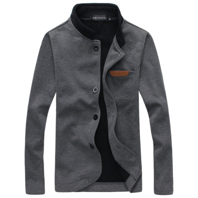 Europe and America Mens Fashion Slim Version of the Single Buckle Solid Long-sleeved Sweater Collar Jacket _Navy_XXL
