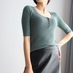20 early autumn new style small breasted thin wool knitted round neck women's half sleeves with small breasts black L